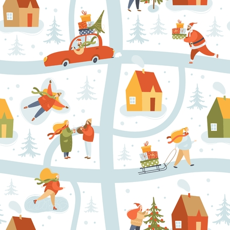 Vector winter seamless pattern with people in winter clothes. Outdoor activities. Bustle on city streets before Christmas holidays. Wrapping paper, wallpaper, textile.
