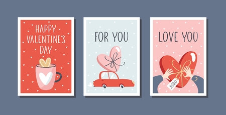 Set of 3 vector Valentines day gift tags or greeting cards, simple flat style.