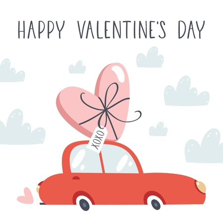 Red car with heart. Valentines Day vector illustration. Stock Illustratie