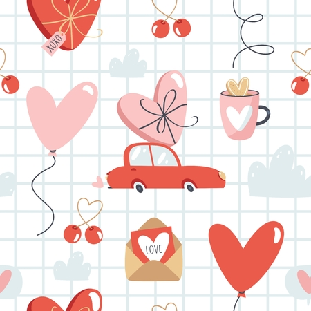 Valentines Day vector seamless pattern.
