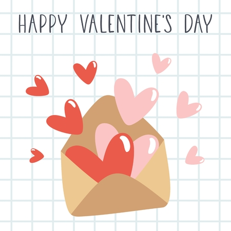 Happy Valentine's Day text with envelope and hearts. Holiday greeting card. Stockfoto - 127404667