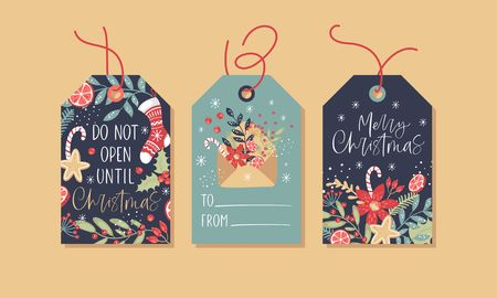 Christmas gift tags set with handwritten text and decorative elements. Stock Illustratie