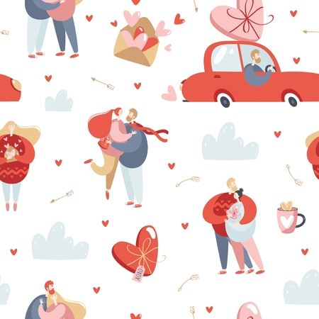 Valentines Day vector seamless pattern with couples in love.