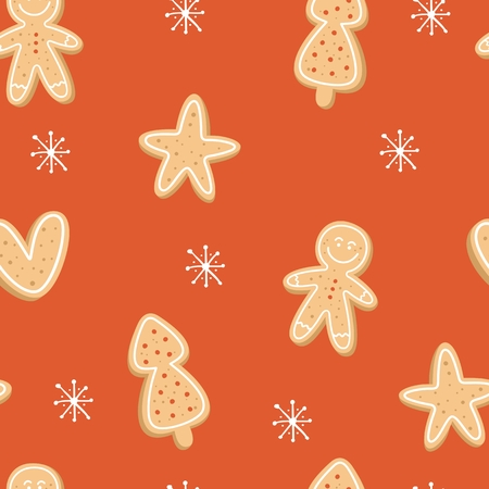 Winter seamless patterns with gingerbread cookies. Holiday vector background for wallpapers, fabrics, wrapping paper. Stockfoto - 127169220
