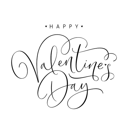 Happy Valentines Day handwritten calligraphy text isolated on white background. Vector Illustration.