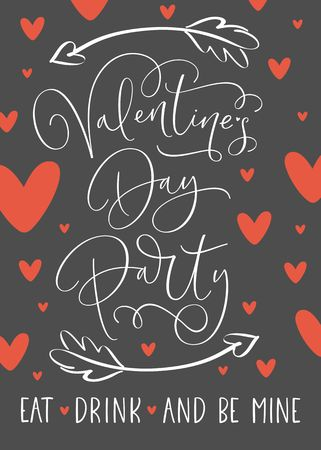 Valentines Day Party Poster with handwritten calligraphy text. Template for invitation, flyer, poster or greeting card. Stock Illustratie