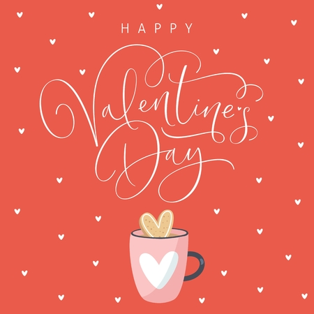 Happy Valentines Day greeting card with handwritten calligraphy text. Vector Illustration. Ilustrace