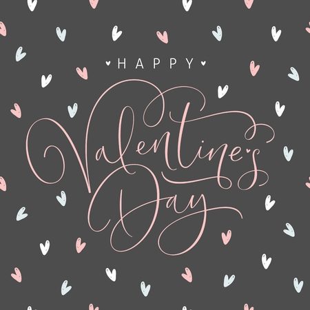 Happy Valentines Day greeting card with handwritten calligraphy text. Vector Illustration. Stockfoto - 126812374