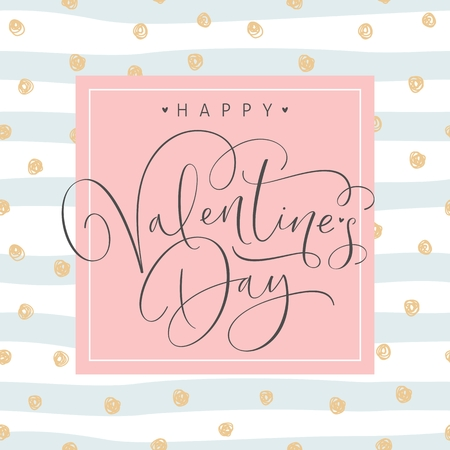 Happy Valentines Day greeting card with handwritten calligraphy text. Vector Illustration. Stockfoto - 126812375