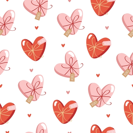 Hand drawn Valentines Day seamless pattern with cute gift boxes, presents and hearts.