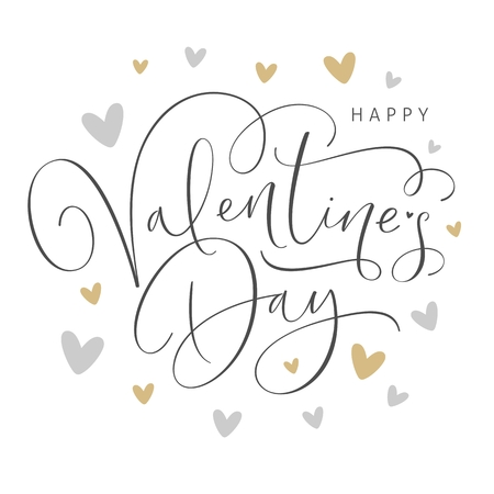 Happy Valentines Day greeting card with handwritten calligraphy text. Vector Illustration. Stock Illustratie
