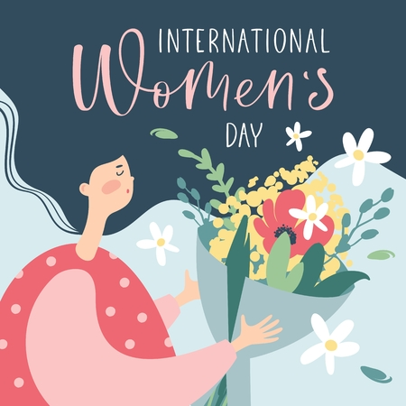 International Womens Day greeting card with cute woman and handwritten calligraphy text. Vector Illustration.