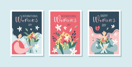 International Womens Day greeting cards with woman, flowers and handwritten calligraphy text. Stock Illustratie