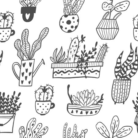 Seamless pattern with hand drawn house plants in pots isolated on white background. Vector Illustration.