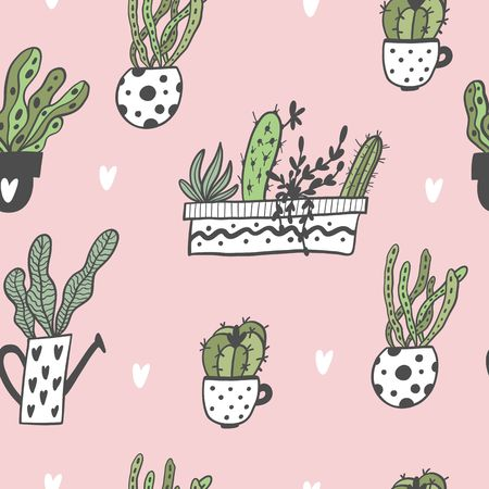 Seamless pattern with hand drawn house plants in pots. Vector Illustration. Stock Illustratie