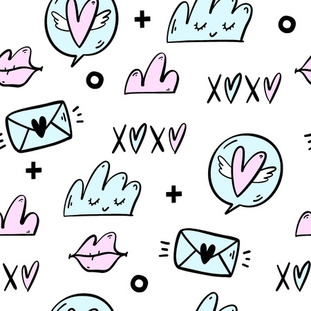 Hand drawn romantic seamless pattern with lovely symbols. Valentine's day or wedding background. Perfect for invitation, stickers, planner, wrapping paper. Vector illustration. Stockfoto - 125849144