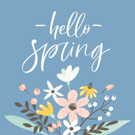 Spring greeting card with lettering and hand drawn flowers.