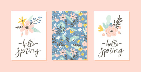 Spring card set with handwritten modern brush calligraphy, flowers, pattern. Floral design concept for greeting cards, scrapbook, poster, cover, tag, invitation. Hand drawn style.