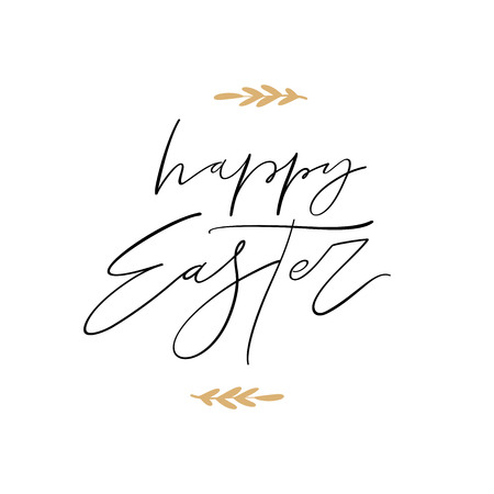 Happy Easter vector lettering illustration. Hand drawn phrase. Handwritten modern brush calligraphy for invitation and greeting card. Ink illustration. Stockfoto - 125711661