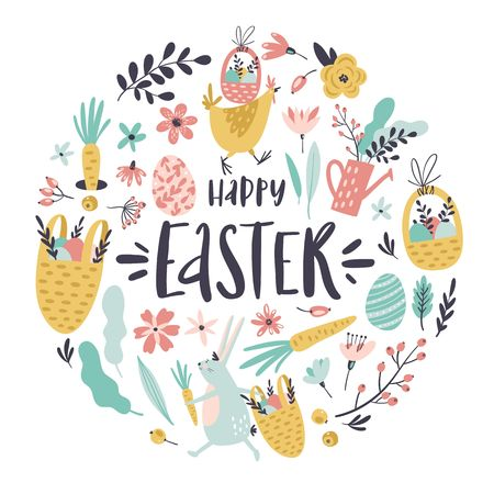 Set of Easter design elements. Eggs, baskets, hen, bunny, flowers, branches, leaves and berries. Handwritten modern brush calligraphy for invitation and greeting card. Stockfoto - 125570445