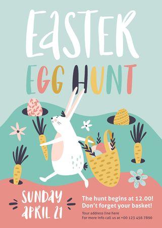 Easter egg hunt poster or invitation template. Vector illustration. Stockfoto - 125570446