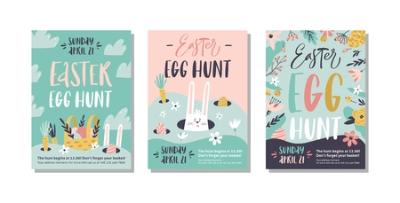 Easter egg hunt poster or invitation template. Vector illustration. Stockfoto - 125512950