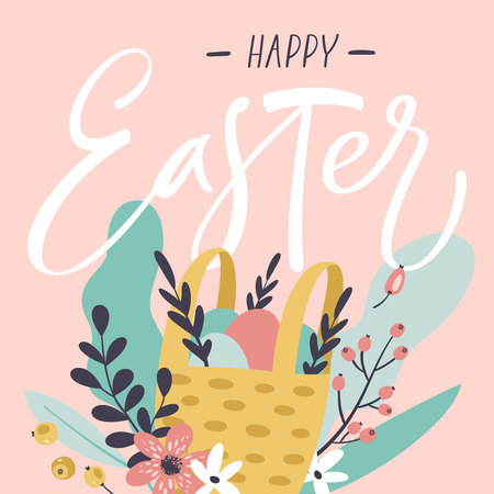 Colorful Happy Easter greeting card with flowers, eggs, leaves and berries.