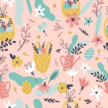 Cute Easter seamless pattern with eggs in basket, flowers, branches, leaves and berries. Endless Spring background. Stock Illustratie