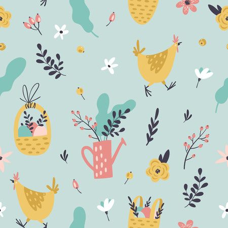 Cute Easter seamless pattern with hen, eggs in basket, flowers, branches, leaves and berries. Endless Spring background.