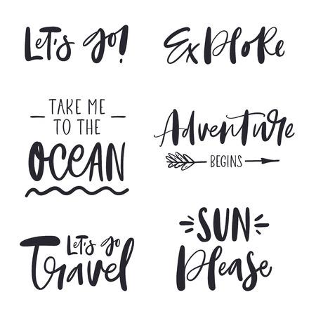Conjunto de frases inspiradoras sobre viajes.