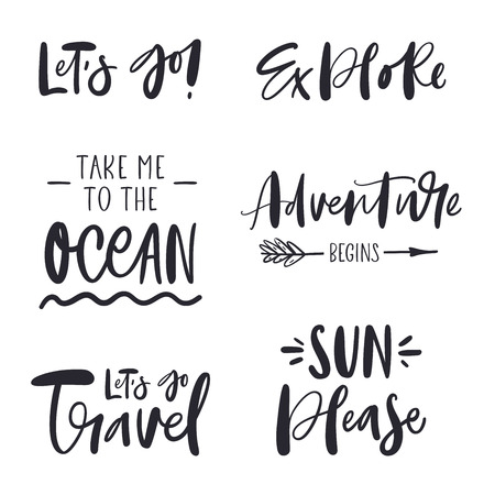 Set of inspirational phrases about travel