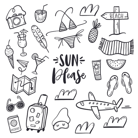 travel vector illustration, hand drawn style, isolated on white background. Stock Illustratie