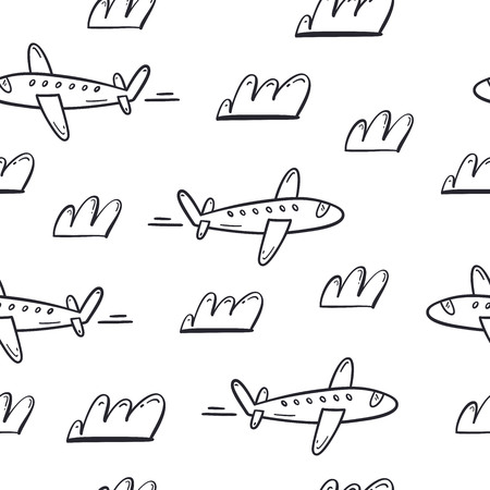 Plane and cloud seamless pattern. Vector hand drawn illustration. Stock Illustratie