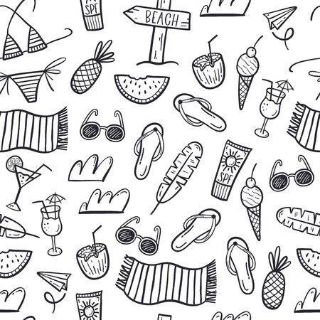 hand drawn seamless pattern with summer doodles