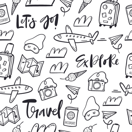 Hand drawn doodle travel pattern Ilustrace