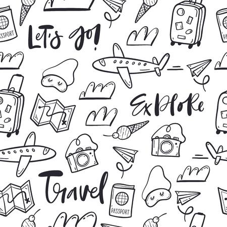 Hand drawn doodle travel pattern Stockfoto - 125275928