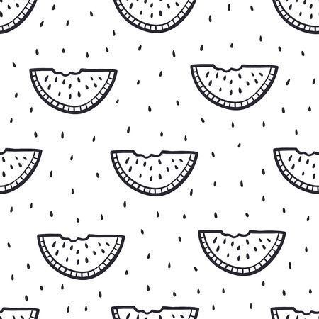 Seamless Doodle Background with watermelon