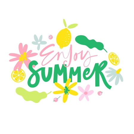 Enjoy Summer. Summer print with lettering isolated on white background. Handwritten modern brush calligraphy for banners, greeting cards, t-shirts, prints, bags, posters Ilustrace