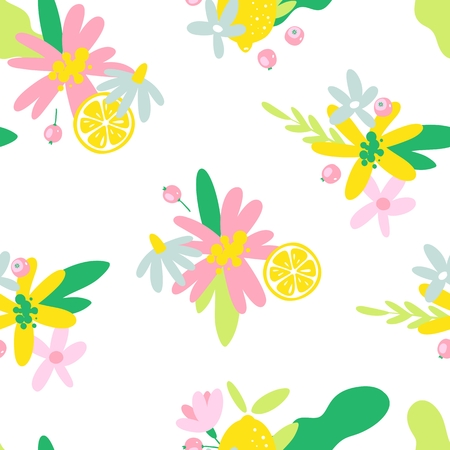 Summer fruit seamless pattern in hand drawn style. Vector fabric design with lemons and flowers.