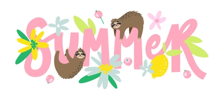 Cartoon summer print with sloth and lettering phrase isolated on white background.