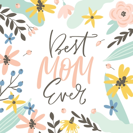 Happy Mothers day greeting card, invitation. Handwritten modern brush calligraphy. Flowers, leaves and berries. Vector illustration. Stockfoto - 125130959
