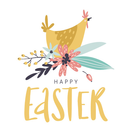 Happy Easter greeting card with handwritten phrase, hen, flowers, leaves and berries. Handwritten modern brush calligraphy. Stock Illustratie