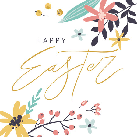 Happy Easter greeting card with handwritten phrase, flowers, leaves and berries. Handwritten modern brush calligraphy. Stockfoto - 124843523