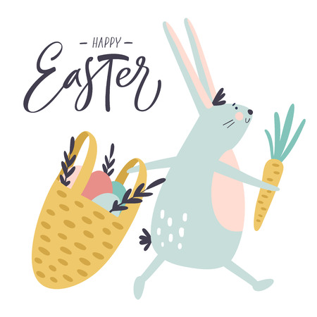 Easter bunny with hand drawn phrase Happy Easter. Handwritten modern brush calligraphy for invitation and greeting card