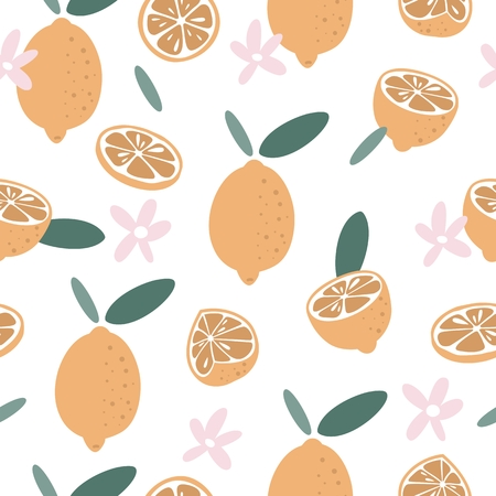 Summer seamless pattern in hand drawn style. Vector fabric design with lemons and flowers. Stock Illustratie