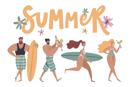 People on the beach. Surfer girl, surfer boy, people drink cocktails. Vector summertime cartoon illustration with handwritten phrase summer.