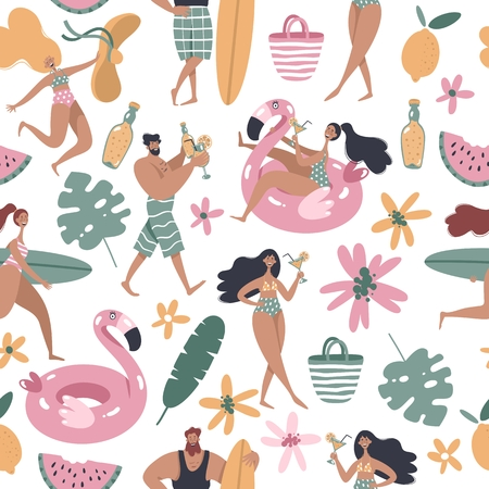 People on the beach, surfer girl, surfer boy, girl swimming on pink flamingo float circle, people drink cocktails. Summertime seamless pattern.