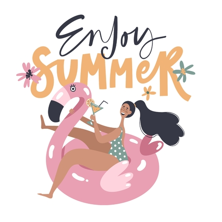 Hand drawn summer card with girl swimming on pink flamingo float circle isolated on white background. Trendy flat cartoon character with handwritten phrase