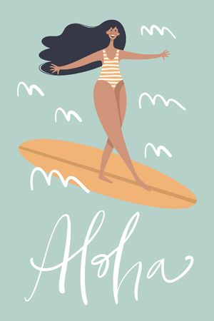 Surf poster with text quote Aloha. Trendy flat cartoon character. Summer Holiday illustration.
