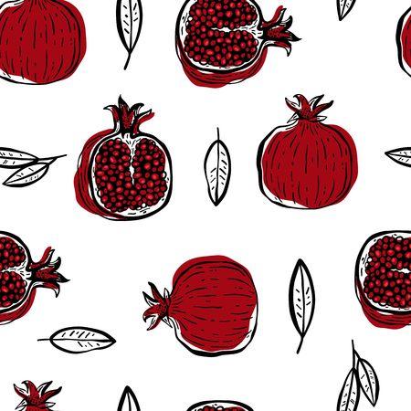 Pomegranate hand drawn seamless pattern. Vector illustration. Stock Illustratie